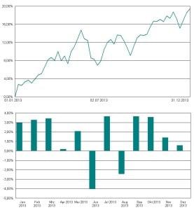 Das Strategiedepot überstand den Markteinbruch im Mai-Juni 2013 sehr gut. Der Wertzuwachs für das Gesamtjahr lag bei 19,4 Prozent.