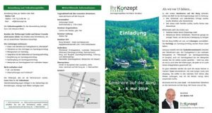 Veranstaltungsflyer der Seminare auf der Burg - vom 3.-5. Mai 2019